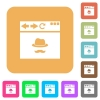 Browser incognito window rounded square flat icons - Browser incognito window flat icons on rounded square vivid color backgrounds.