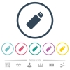Pendrive flat color icons in round outlines. 6 bonus icons included. - Pendrive flat color icons in round outlines