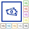 More banknotes with portrait flat framed icons - More banknotes with portrait flat color icons in square frames on white background