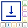 Vertical align bottom flat color icons in square frames on white background - Vertical align bottom flat framed icons