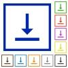 Vertical align bottom flat framed icons - Vertical align bottom flat color icons in square frames on white background