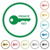 Private key flat icons with outlines - Private key flat color icons in round outlines on white background