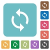Programming loop rounded square flat icons - Programming loop white flat icons on color rounded square backgrounds