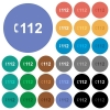 Emergency call 112 round flat multi colored icons - Emergency call 112 multi colored flat icons on round backgrounds. Included white, light and dark icon variations for hover and active status effects, and bonus shades.