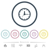 Analog clock flat color icons in round outlines. 6 bonus icons included. - Analog clock flat color icons in round outlines