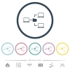 Network file system flat color icons in round outlines. 6 bonus icons included. - Network file system flat color icons in round outlines