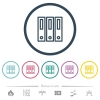 Binders flat color icons in round outlines. 6 bonus icons included. - Binders flat color icons in round outlines
