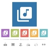 Music library flat white icons in square backgrounds. 6 bonus icons included. - Music library flat white icons in square backgrounds