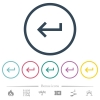 Keyboard return flat color icons in round outlines - Keyboard return flat color icons in round outlines. 6 bonus icons included.