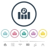 Ruble financial graph flat color icons in round outlines. 6 bonus icons included. - Ruble financial graph flat color icons in round outlines