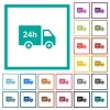 24 hour delivery truck flat color icons with quadrant frames - 24 hour delivery truck flat color icons with quadrant frames on white background