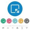Resize object flat round icons - Resize object flat white icons on round color backgrounds. 6 bonus icons included.