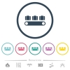 Luggage conveyor flat color icons in round outlines - Luggage conveyor flat color icons in round outlines. 6 bonus icons included.