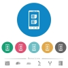 Dual SIM mobile flat round icons - Dual SIM mobile flat white icons on round color backgrounds. 6 bonus icons included.