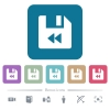 File fast backward white flat icons on color rounded square backgrounds. 6 bonus icons included