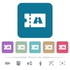 Toll discount coupon flat icons on color rounded square backgrounds - Toll discount coupon white flat icons on color rounded square backgrounds. 6 bonus icons included