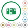 File server flat icons with outlines - File server flat color icons in round outlines on white background