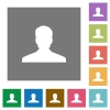 Anonymous avatar square flat icons - Anonymous avatar flat icons on simple color square backgrounds