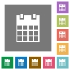 Single calendar square flat icons - Single calendar flat icons on simple color square backgrounds