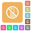 No cellphone rounded square flat icons - No cellphone flat icons on rounded square vivid color backgrounds.