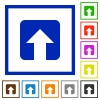 Upload flat color icons in square frames on white background - Upload flat framed icons