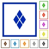 Diamond tile pattern flat color icons in square frames on white background - Diamond tile pattern flat framed icons