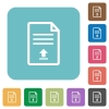 Upload document rounded square flat icons - Upload document white flat icons on color rounded square backgrounds