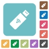 Wireless usb stick rounded square flat icons - Wireless usb stick white flat icons on color rounded square backgrounds