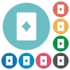 Diamond card symbol flat round icons - Diamond card symbol flat white icons on round color backgrounds