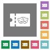 Theater discount coupon square flat icons - Theater discount coupon flat icons on simple color square backgrounds