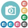 Monochrome photos flat round icons - Monochrome photos flat white icons on round color backgrounds