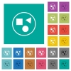 Grouping elements square flat multi colored icons - Grouping elements multi colored flat icons on plain square backgrounds. Included white and darker icon variations for hover or active effects.