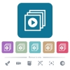 Play files flat icons on color rounded square backgrounds - Play files white flat icons on color rounded square backgrounds. 6 bonus icons included