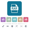 RAR file format flat icons on color rounded square backgrounds - RAR file format white flat icons on color rounded square backgrounds. 6 bonus icons included