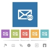 Mail attachment flat white icons in square backgrounds. 6 bonus icons included.