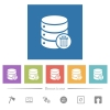 Delete from database flat white icons in square backgrounds - Delete from database flat white icons in square backgrounds. 6 bonus icons included.
