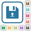 Upload file simple icons - Upload file simple icons in color rounded square frames on white background