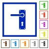 Left handed door handle with screws flat framed icons - Left handed door handle with screws flat color icons in square frames on white background