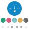 Fuel indicator flat white icons on round color backgrounds. 6 bonus icons included. - Fuel indicator flat round icons