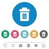 Full trash flat round icons - Full trash flat white icons on round color backgrounds. 6 bonus icons included.