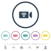 Wireless camera flat color icons in round outlines - Wireless camera flat color icons in round outlines. 6 bonus icons included.