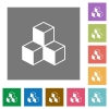 Cubes square flat icons - Cubes flat icons on simple color square backgrounds
