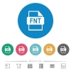 FNT file format flat round icons - FNT file format flat white icons on round color backgrounds. 6 bonus icons included.