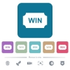 Winner ticket white flat icons on color rounded square backgrounds. 6 bonus icons included - Winner ticket flat icons on color rounded square backgrounds