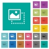 Drag image to top left square flat multi colored icons - Drag image to top left multi colored flat icons on plain square backgrounds. Included white and darker icon variations for hover or active effects.