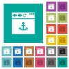 Browser anchor square flat multi colored icons - Browser anchor multi colored flat icons on plain square backgrounds. Included white and darker icon variations for hover or active effects.