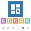 Dashboard tools flat white icons in square backgrounds - Dashboard tools flat white icons in square backgrounds. 6 bonus icons included.
