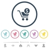 Checkout with Dollar cart flat color icons in round outlines. 6 bonus icons included. - Checkout with Dollar cart flat color icons in round outlines