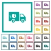 Fast delivery truck flat color icons with quadrant frames - Fast delivery truck flat color icons with quadrant frames on white background