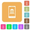 Mobile banking flat icons on rounded square vivid color backgrounds. - Mobile banking rounded square flat icons